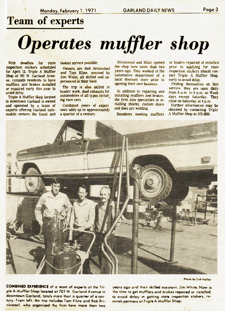 Triple A Muffler Garland Newspaper Article